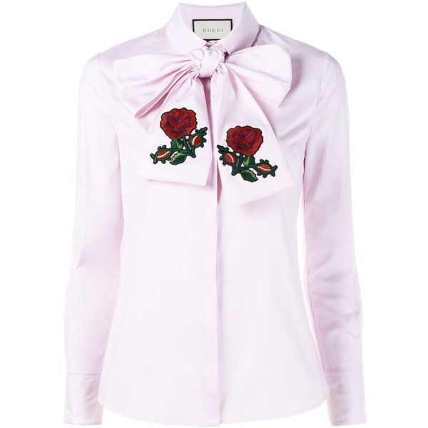 Gucci Embroidered Oversized Bow Shirt ($809) ❤ liked on Polyvore featuring tops, cotton shirts, gucci tops, embroidered shirts, white cotton shirt and white embroidered top