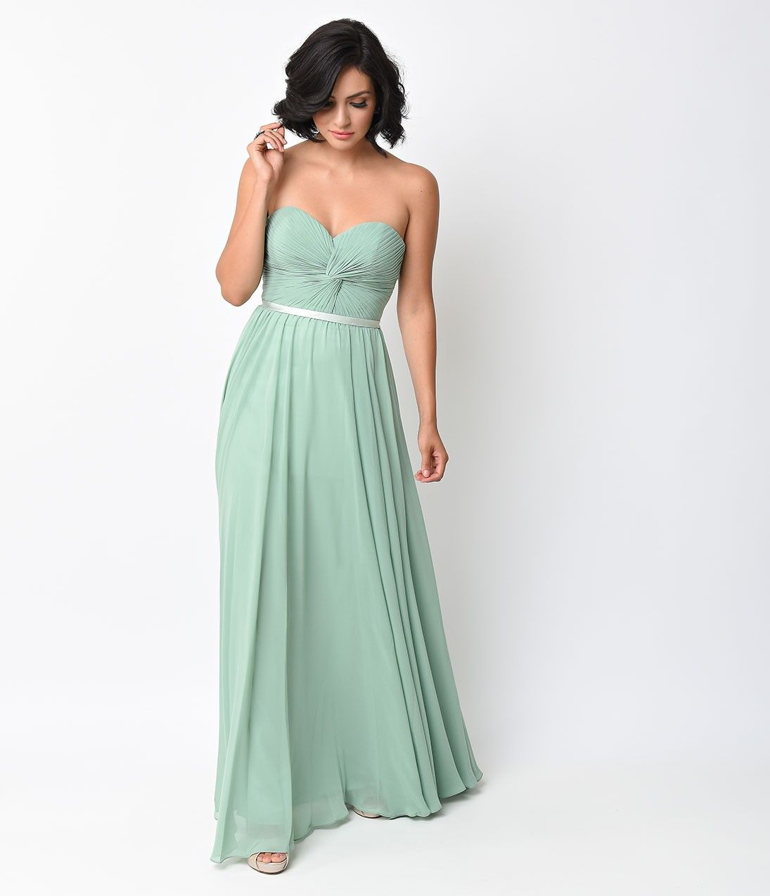 Sage green chiffon strapless sweetheart corset long gown corset sage green chiffon strapless sweetheart corset long gown ombrellifo Gallery