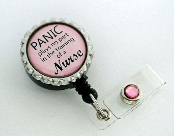 Nurse Retractable Id Badge Holder Embellished Snap Button