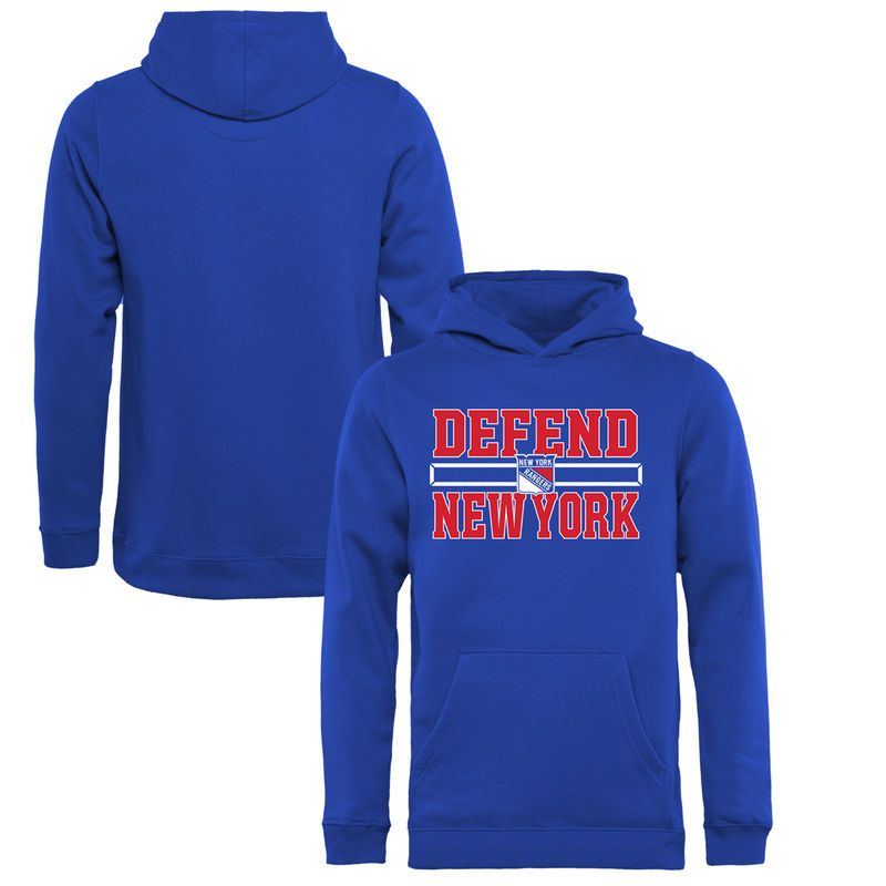 448656a38 New York Rangers Fanatics Branded Youth Hometown Collection Defend Pullover  Hoodie - Royal
