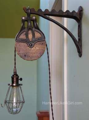 DIY Pulley Light   Rustic light fixtures, Pulley light ...