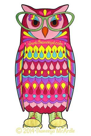 Dapper Animals Coloring Book Owl by Thaneeya | Cheryl\'s Clipart ...