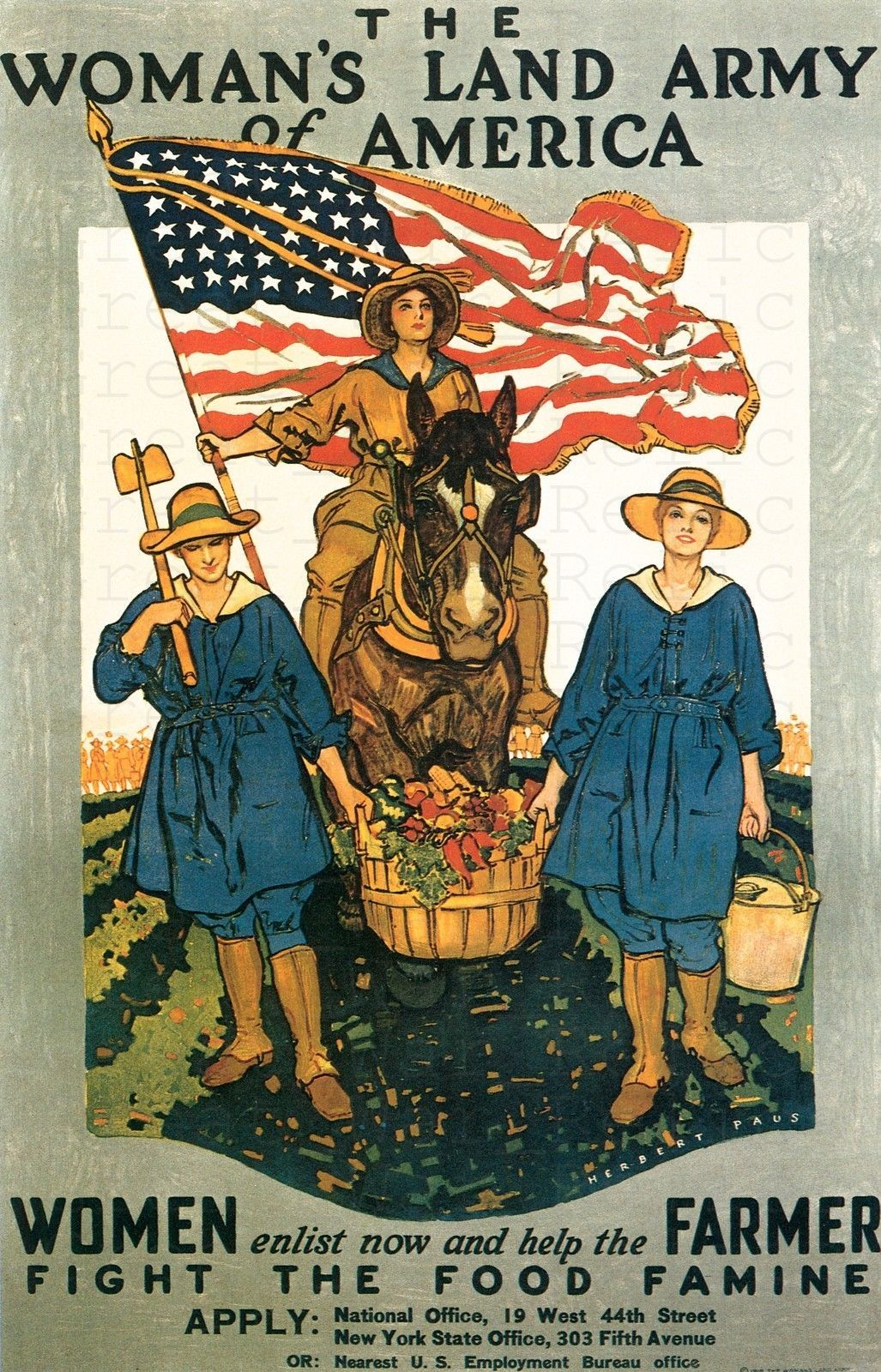 Details About American Propaganda Poster Ww1 Us Army Militaria Wwi Collectibles War 1917 Women S Land Army Ww1 Propaganda Posters Wwii Posters