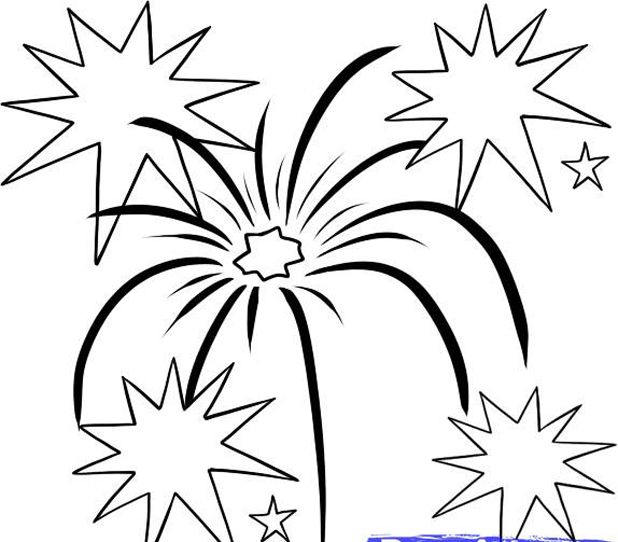 How To Draw Simple Fireworks Drawing