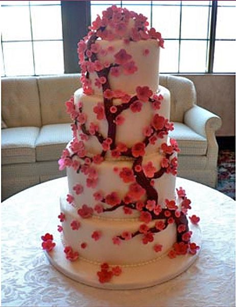 Beautiful Cherry Blossom Wedding Cake