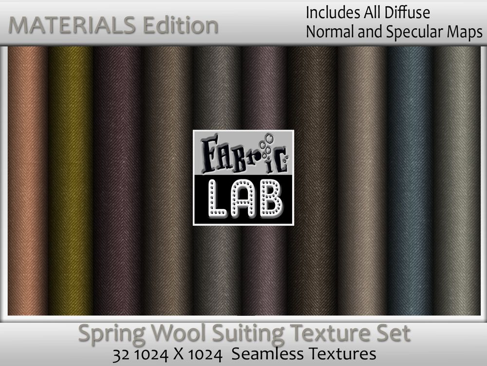 Spring Wool Suiting Seamless Texture set Materials edition with Normal and Specular Maps  Artist Resources by www.fabriclab.org