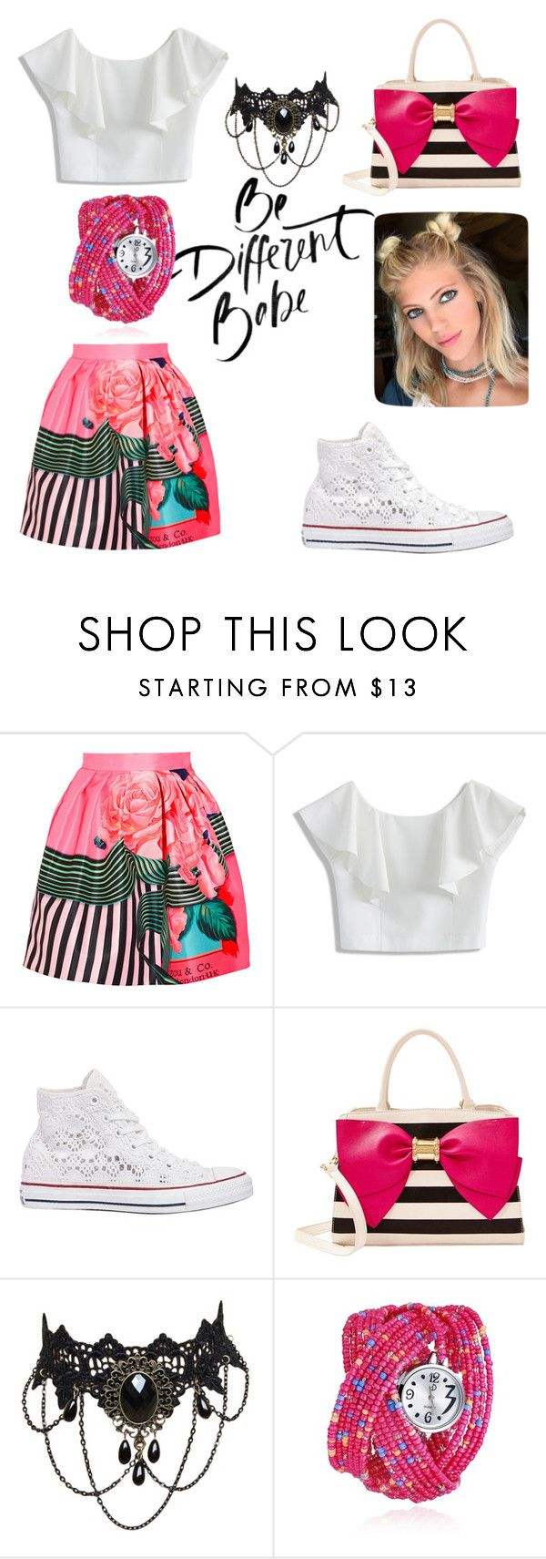 """""""Be Different in White Sneakers"""" by mel-c-n on Polyvore featuring Mary Katrantzou, Chicwish, Converse, Betsey Johnson, polyvorecontest and whitesneakers"""