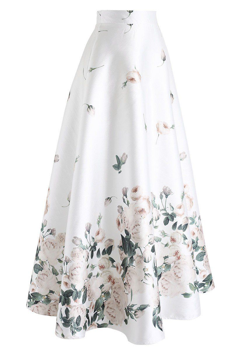 a2a264d6b064b Fallen Rosa Printed Maxi Skirt in White - Retro, Indie and Unique ...