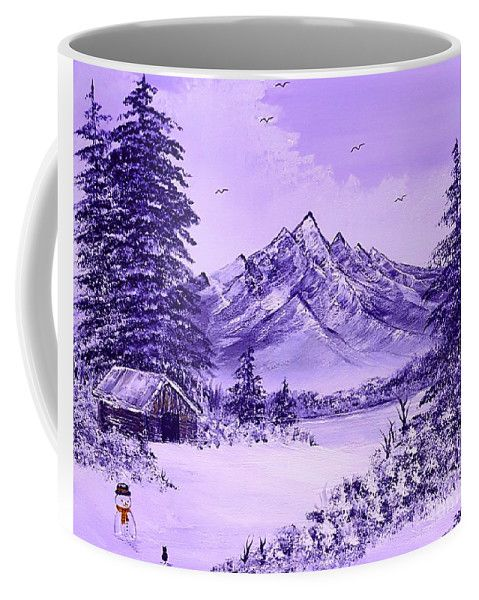 Photo of Cats First Winter Fun Pretty Purple Glow  Coffee Mug for Sale by Angela Whitehouse