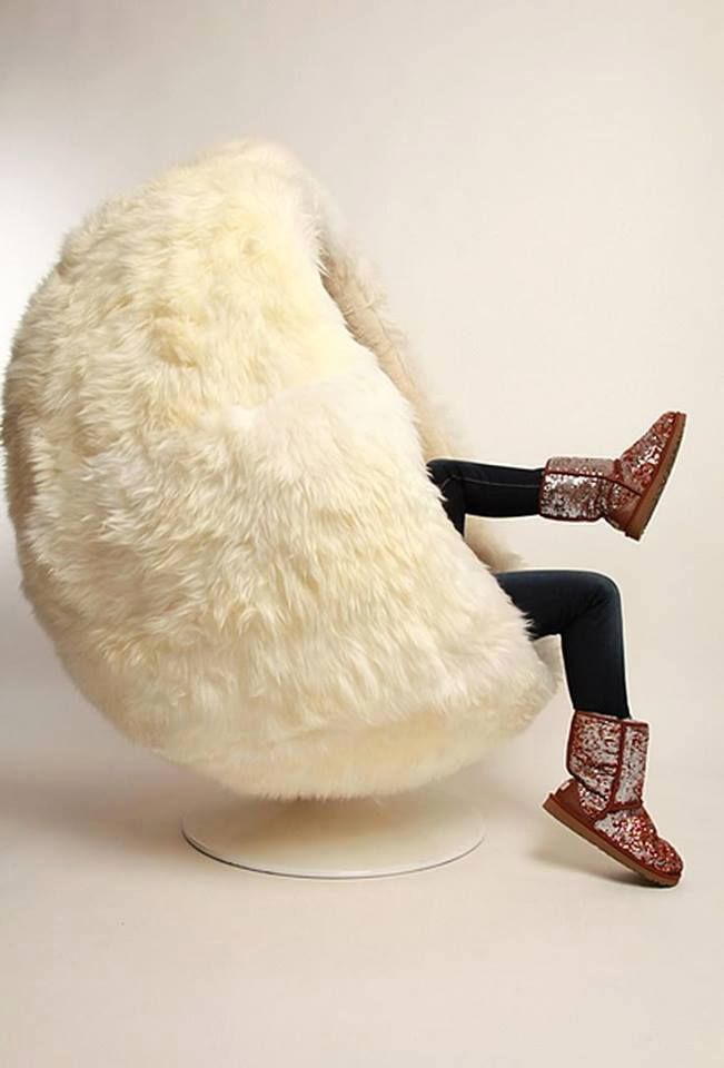 White Fuzzy Round Chair I Kneed One Fluffy Chair Ball Chair Fur Chair