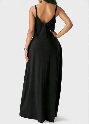 41f0fb184af Open Back Pocket Decorated Black Maxi Dress