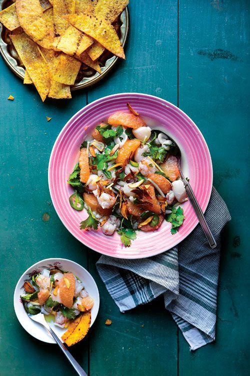 Grapefruit juice, fiery jalapeño, and fragrant ginger transform shrimp, scallops, and calamari into an aromatic, spicy salad.