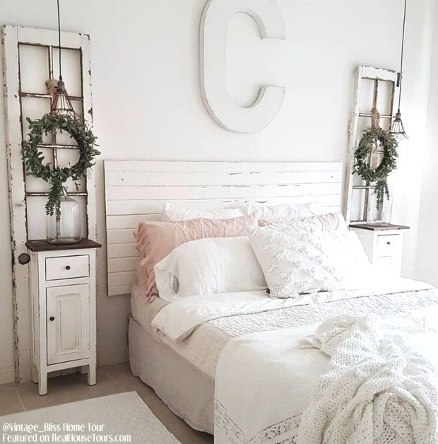 Shiplap Headboard  Farmhouse Bedroom Decor