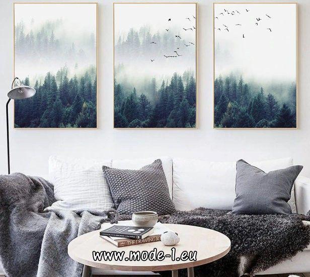 druck leinwand malerei wald wohnzimmer deko  wald