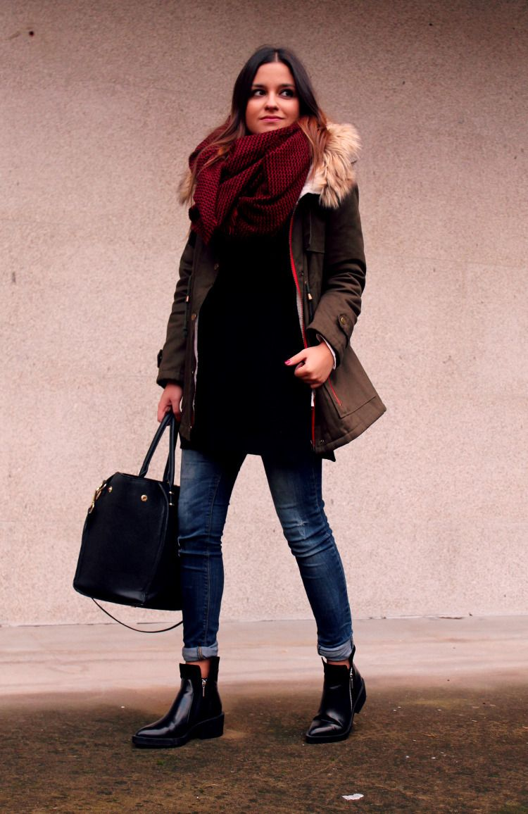 Women's Brown Parka, Black Oversized Sweater, Navy Skinny Jeans ...