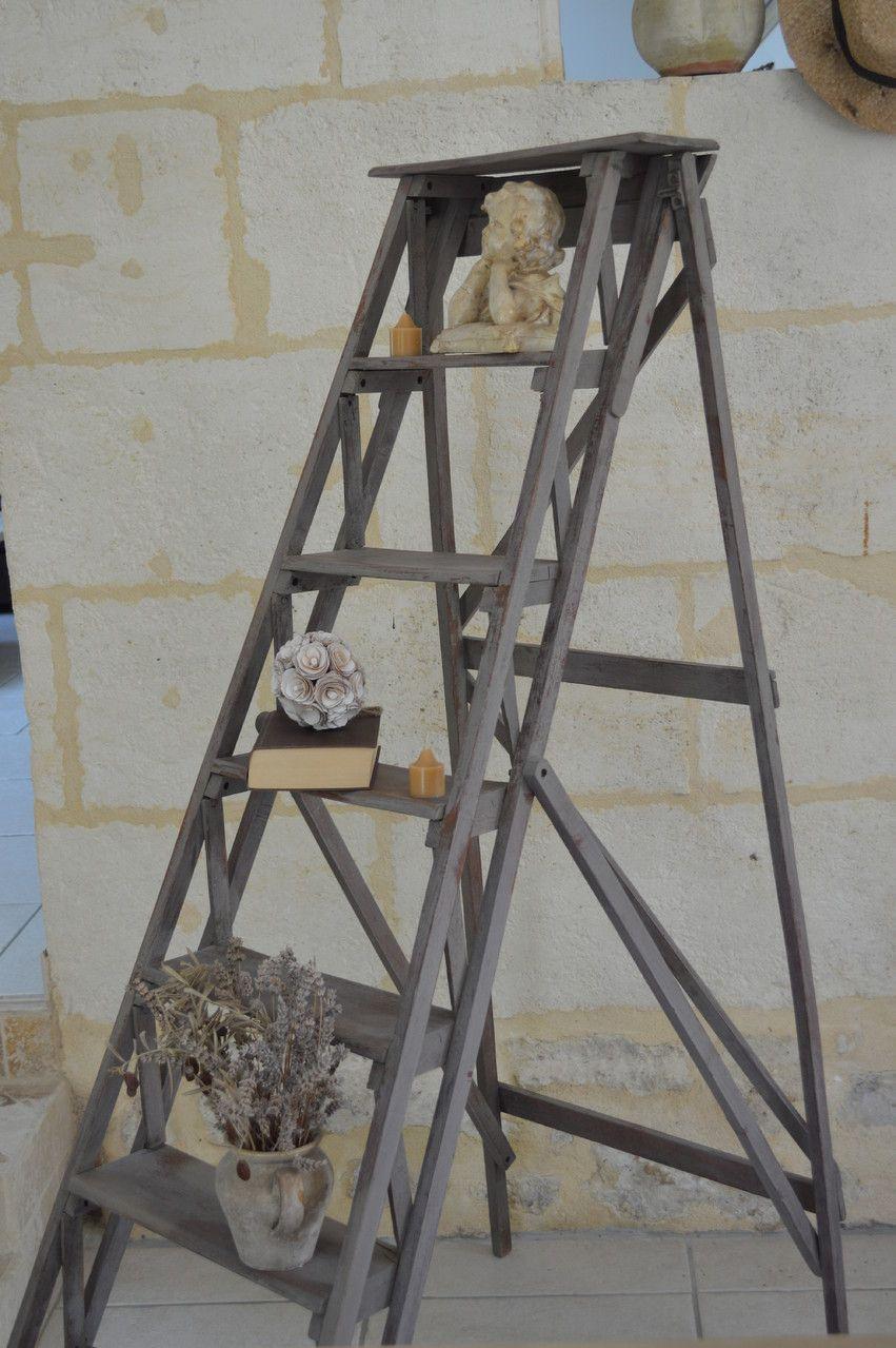 Amatxi Deco Creations Escabeau Ancien Peint Avec Un Melange De