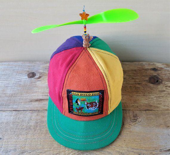 cc419a8747ecc Vintage SAN DIEGO ZOO Wild Animal Park Kids Propeller Hat 6 Panel Rainbow  Koala Bear Baseball Cap Souvenir Attraction Promo Elasticized