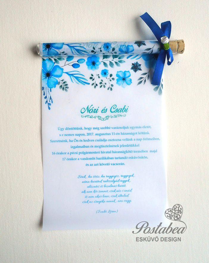 d8a8d838f6 Kék akvarell virágos kémcsöves esküvői meghívó | Kémcsöves esküvői ...