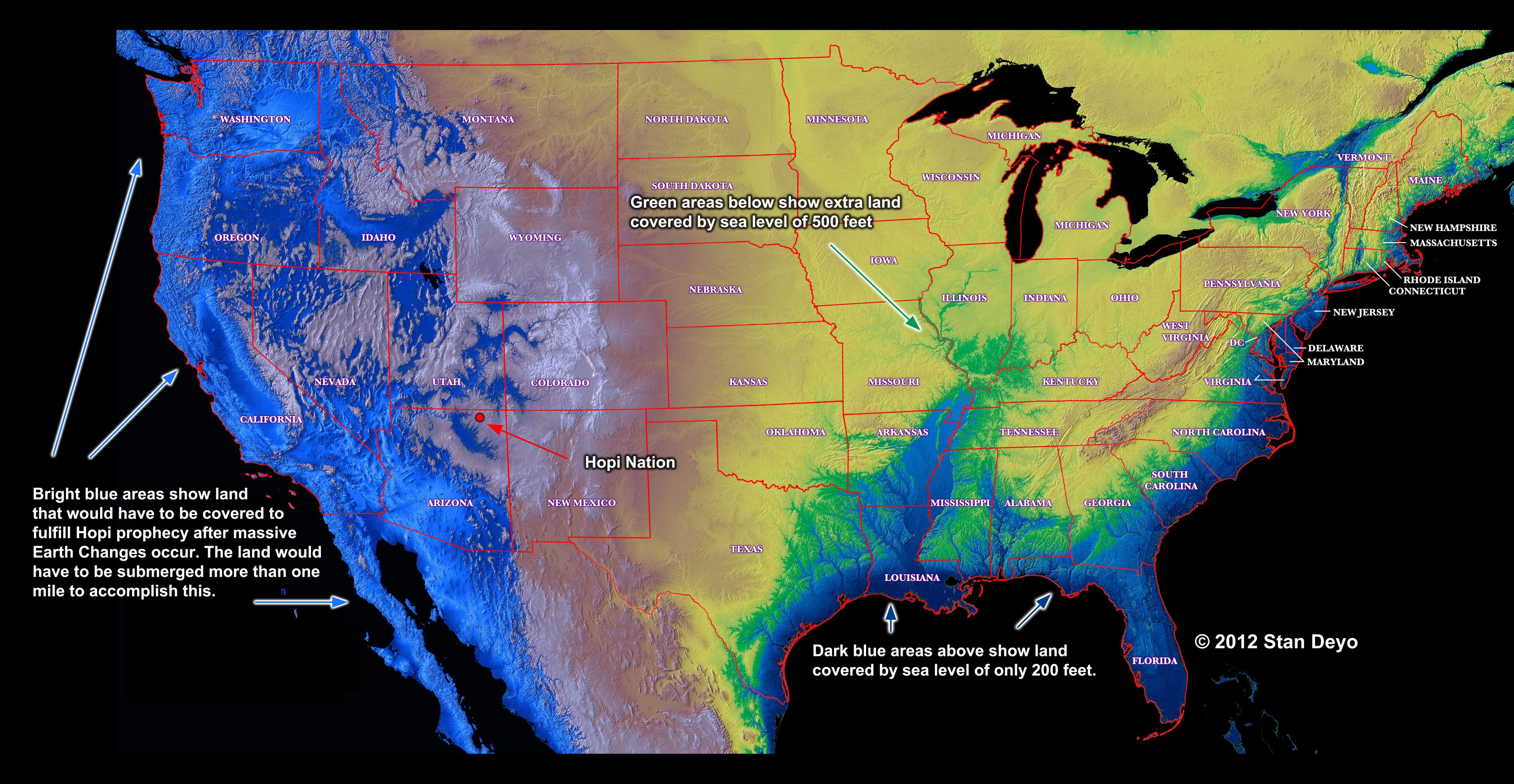 Possible water levels in USA during and after massive tectonic plate
