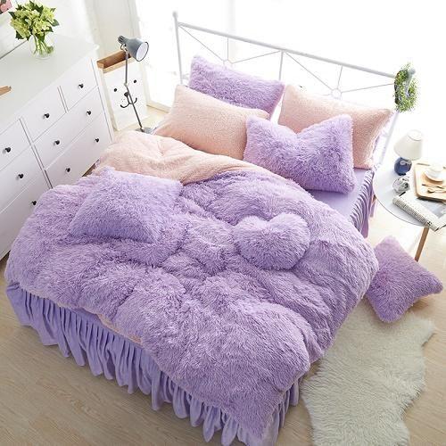 Luxury Plush Faux Fur Bedding Duvet Cover Set3 4 6 7pcs Bed Linen Sets Bed Duvet Covers Bedding Sets