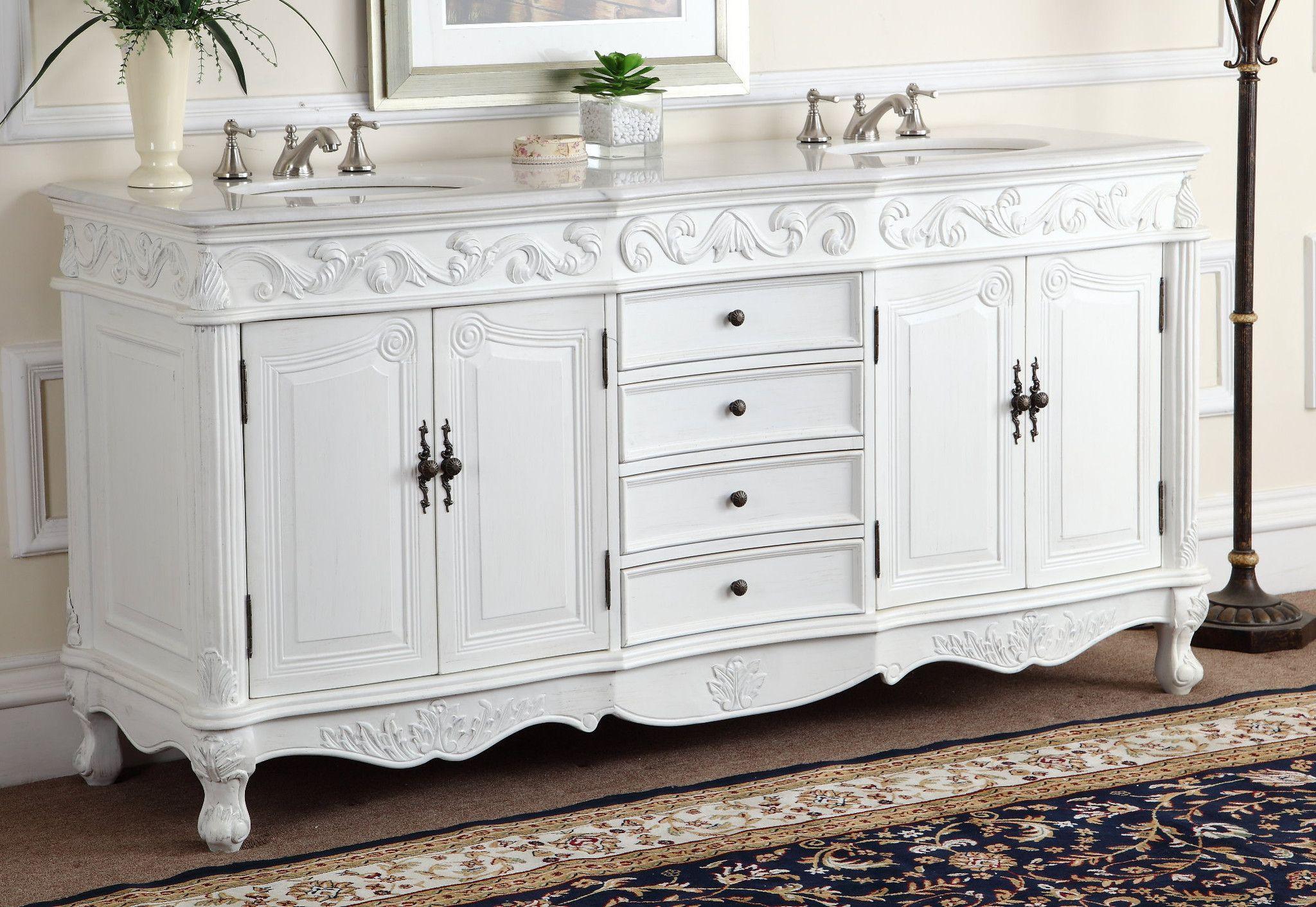 72 Antique White Double Sink Beckham Bathroom Vanity Cf 3882w Aw 72 Bathroom Vanity Bathroom Sink Vanity Vanity Sink