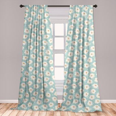 East Urban Home Popcorn Floral Room Darkening Rod Pocket Curtain Panels | Wayfair #movienightsnacks