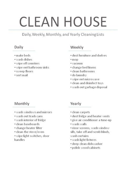 daily weekly monthly yearly house cleaning task lists