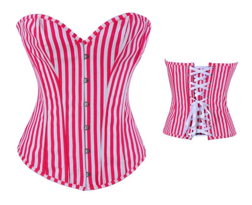 Amazon.com: Bella bridal Women\'s White Red Stripe Jeans Corset ...