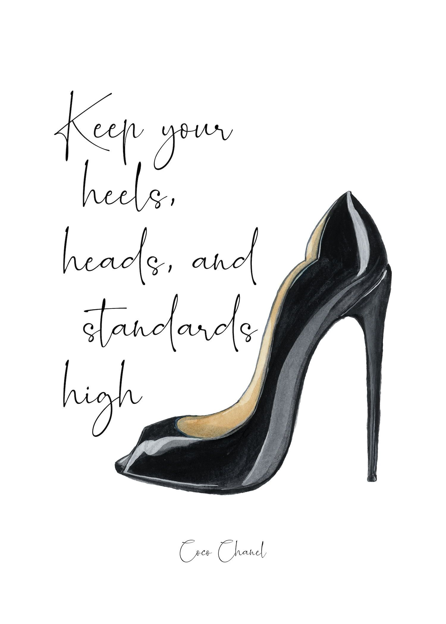 i need new shoes Print  quote Watercolor a4 wall art picture gift  unframed