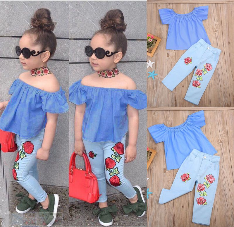 6833496b3 Kids Baby Girl Outfit Off Shoulder Shirt T-Shirt Tops+Long Pants Jeans  Clothes