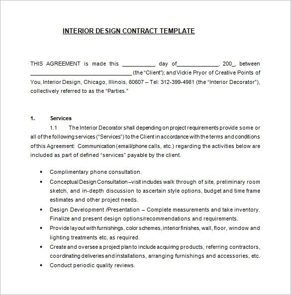 6+ Interior Designer Contract Templates \u2013 Free Word, PDF Documents
