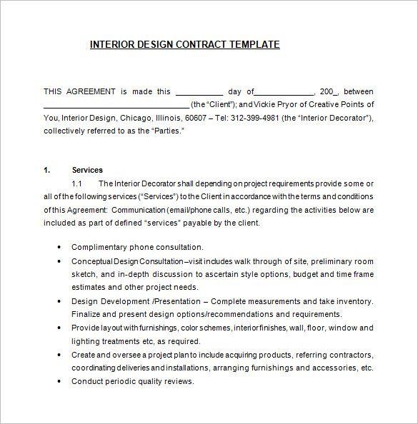 interior designer contract templates  free word pdf documents download premium also rh ar pinterest