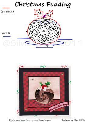 Christmas Pudding On Craftsuprint Add To Basket Iris Folding Pattern Christmas Card Crafts Card Patterns