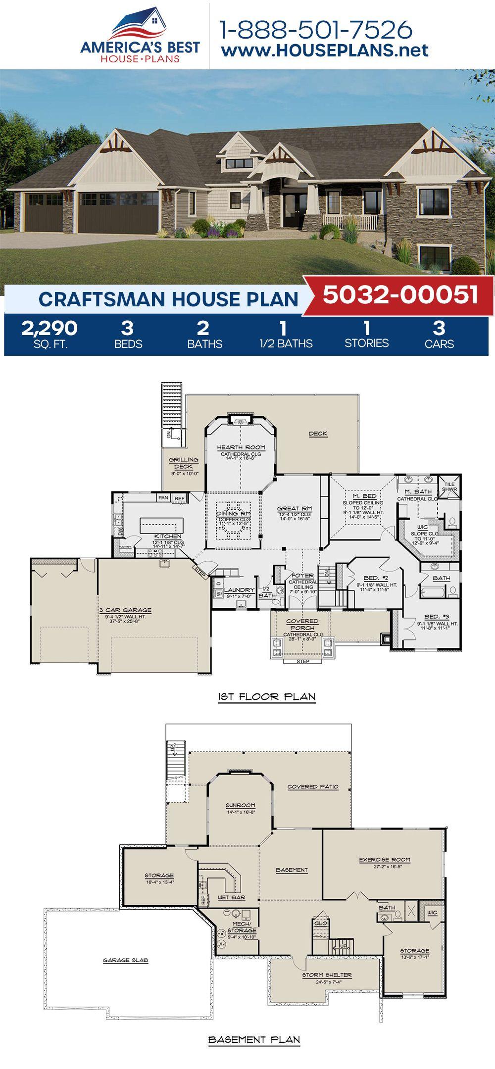 House Plan 5032 00051 Craftsman Plan 2 290 Square Feet 3 Bedrooms 2 5 Bathrooms Craftsman House Plans Craftsman House Plan Craftsman House