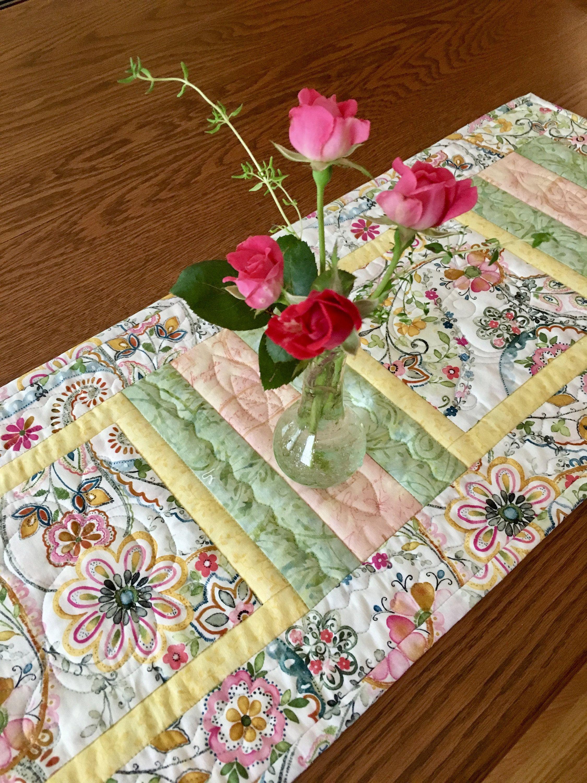 Quilted Table Runner, SummerTime Table Runner, Handmade Table Runner, Traditional  Table Runner