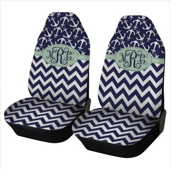 Chevron Anchors Car Seat Covers Set Of Two Front Monogrammed Personalized Accessories For Vehicle By ChicMonogram On