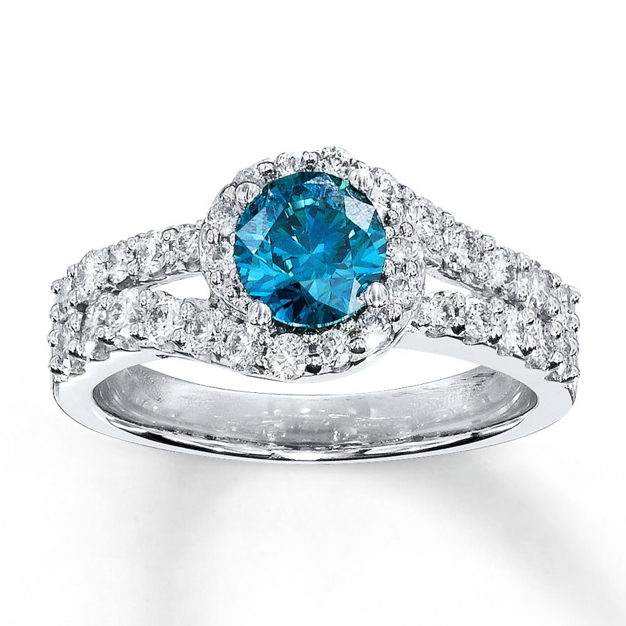 blue diamond blue diamond ring 1 38 ct tw round cut 14k - Blue Diamond Wedding Ring