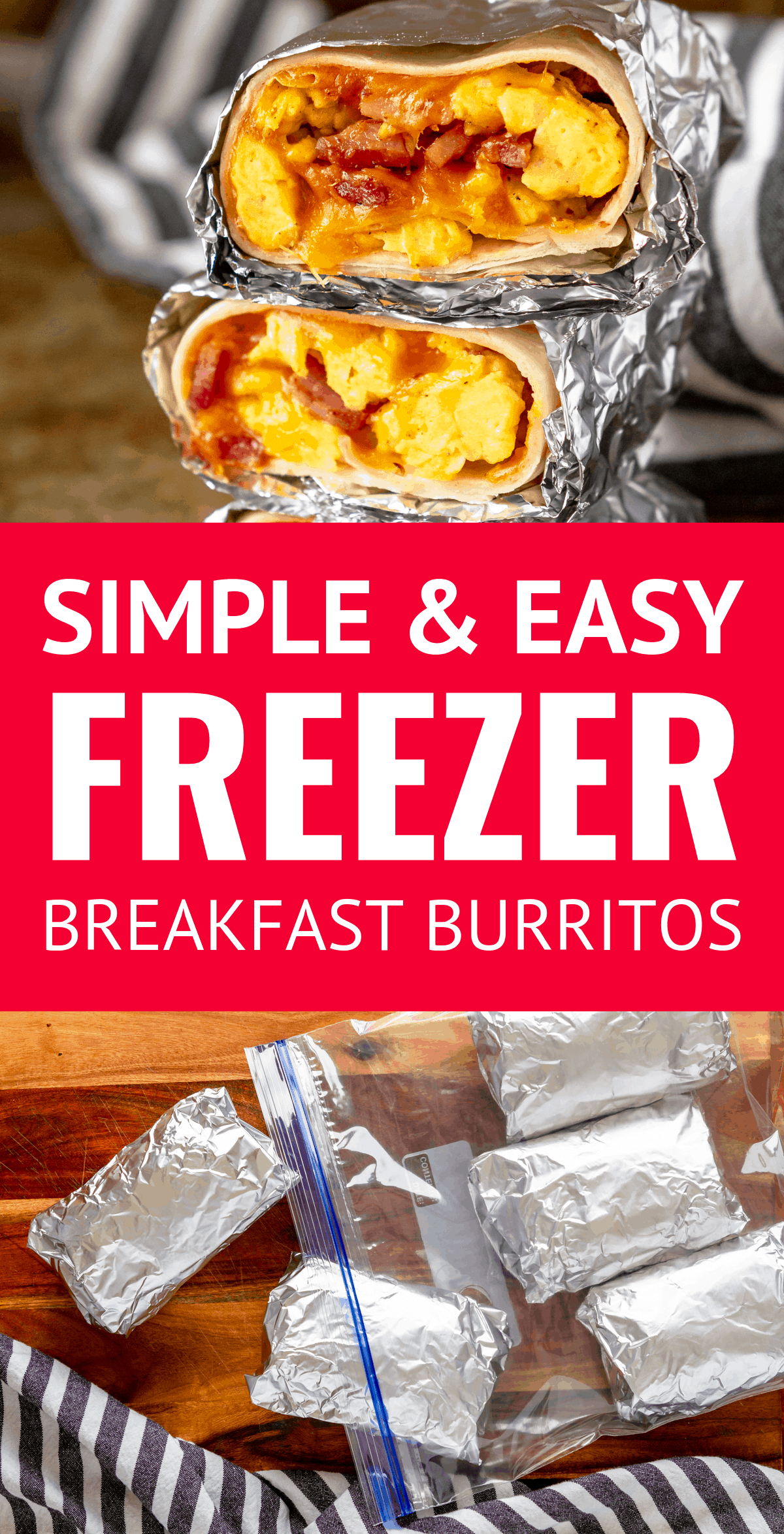 Easy Freezer Breakfast Burritos -- skipping breakfast will be a thing of the past with these simple and easy ham, egg  cheese frozen breakfast burritos. Make ahead breakfast burritos are the perfect way to meal prep breakfasts for the week! | how to make breakfast burritos | easy breakfast burrito recipe | easy breakfast burritos #breakfastburritos #freezerbreakfastburritos #makeaheadbreakfast #mealprep #breakfastrecipes #makeahead #makeaheadmeals #freezermeals #freezerfriendly #freezercooking