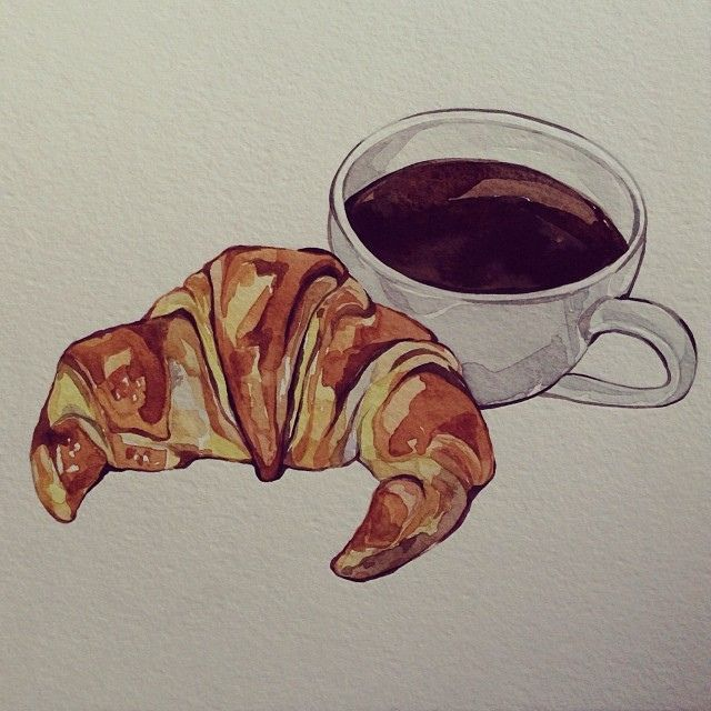 Cafe Et Croissant Wip Watercolours Painting Illustration