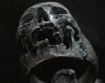 Skull ring Mid size half jaw with black gemstones by Bakogiorgis
