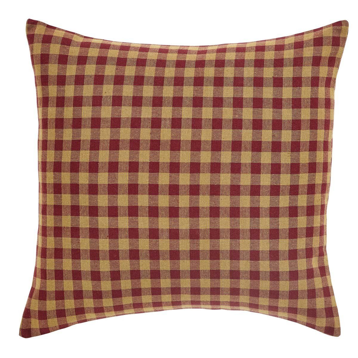 Burgundy check fabric filled pillow x pillows and products