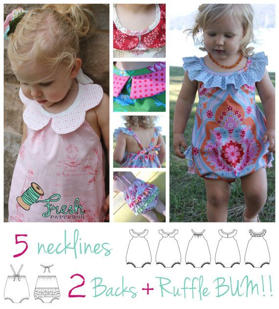 Darling Playsuit PDF pattern in sizes 0000 (newborn) to 3. Includes 3 collars, ruffle neck and plain neck ties AND optional snap crotch for nappy changes.