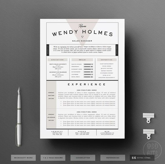 Resume Template / CV Template + Cover Letter for Word ( 3 page pack
