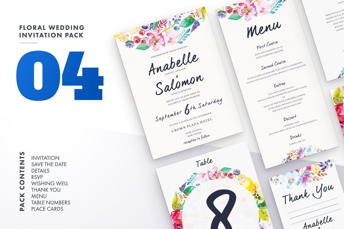 Ad Floral Wedding Invitation Bundle By Lovepowerdesigns On Creativemarket Hi Guys Be Floral Wedding Invitations Wedding Invitation Sets Wedding Invitations