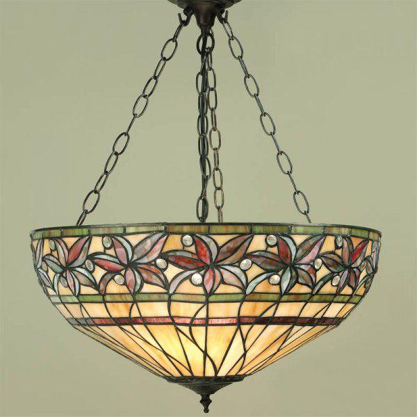 Interiors 1900 Ashtead 3 Light Tiffany Style Ceiling