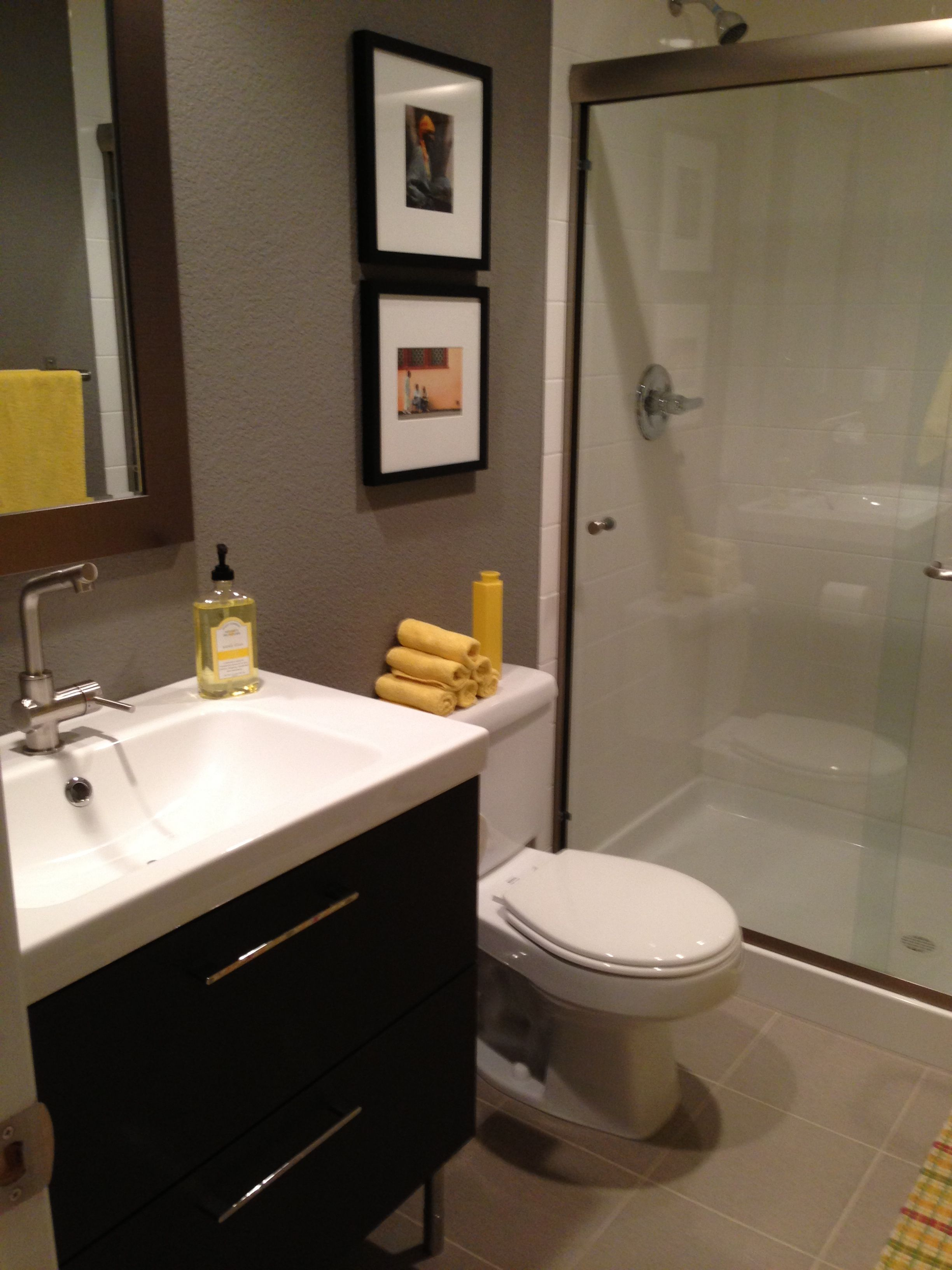 Basement bathroom our house a labor of love in for Basement bathroom flooring ideas