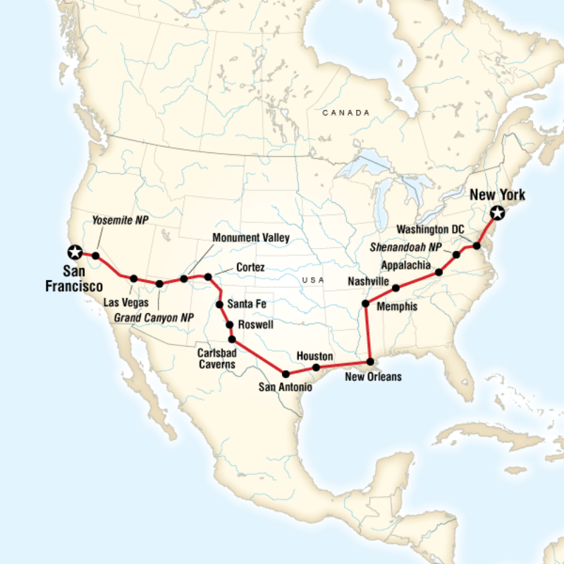 Map Of The Route For Southern Cross Country Westbound California - Southern map of usa