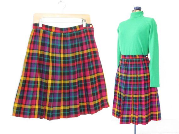 530fc3b8b vintage pleated skirt * kaleidoscope plaid skirt * full skirt * short skirt  * 80s skirt * m / l