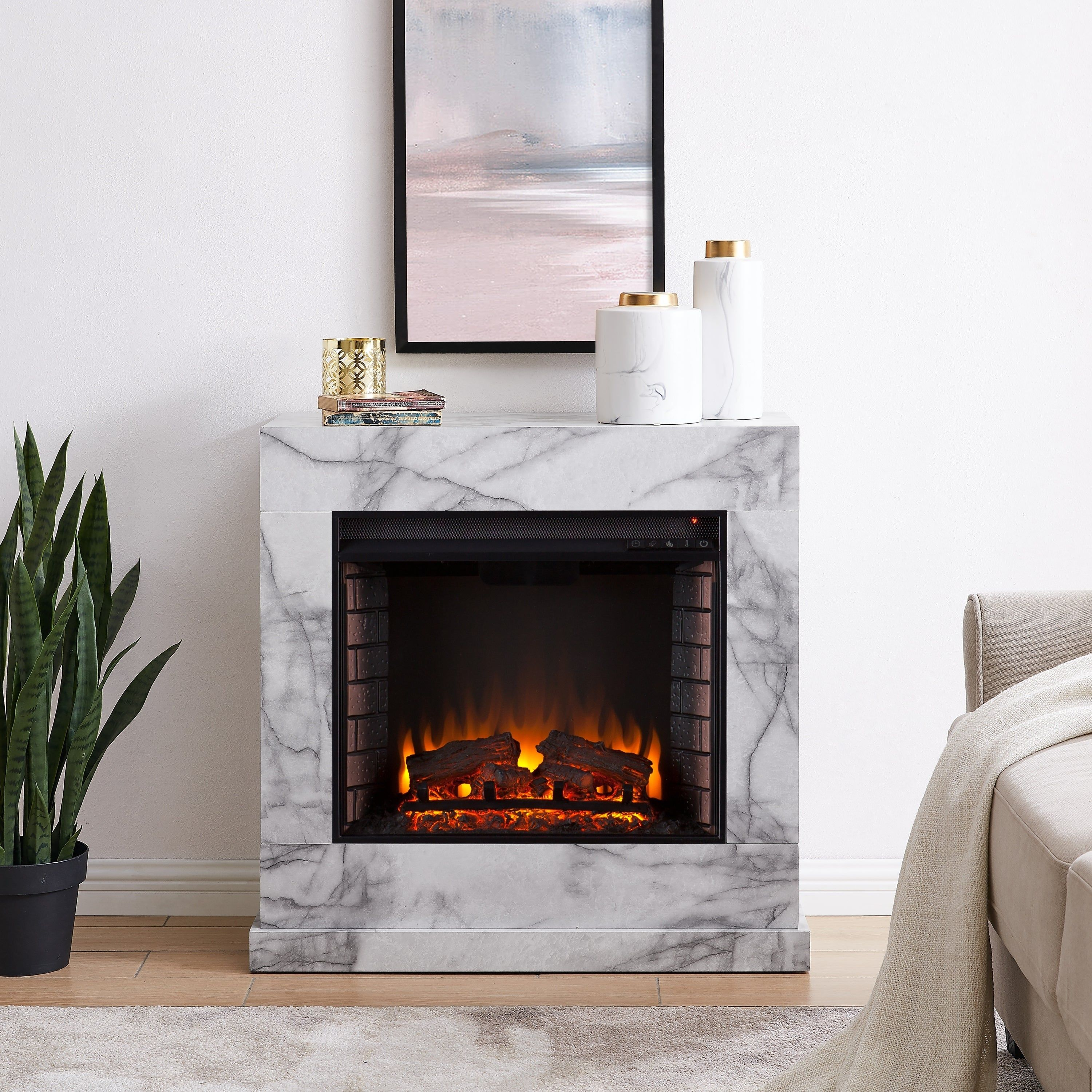 Dejon Contemporary White Stone Electric Fireplace Stone Electric