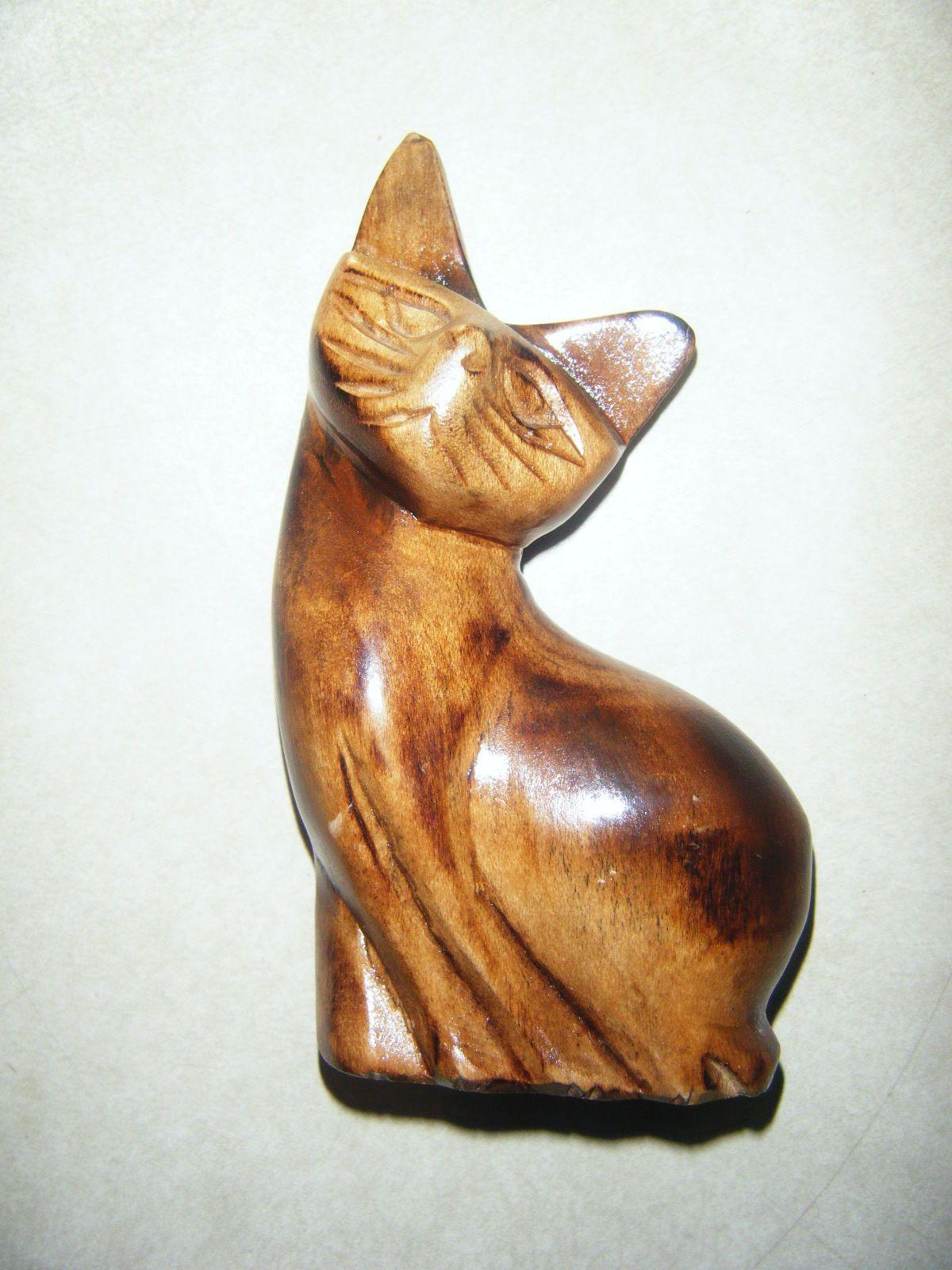 Small wooden cat kitten figurine ebay gatos en mÚltiples